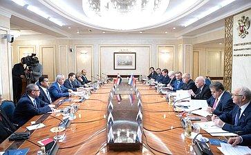 Встреча Ильяса Умаханова сделегацией Комитета помеждународным делам Палаты представителей Арабской Республики Египет воглаве спредседателем Комитета Каримом Дарвишем