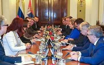В. Матвиенко провела встречу сПредседателем Народной скупщины Республики Сербии Майей Гойкович