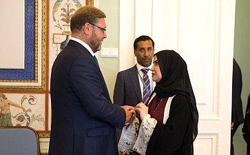 Встреча К. Косачева сПредседателем Федерального Национального Совета Объединенных Арабских Эмиратов Амаль Абдалла Аль-Кубейси