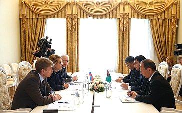 Встреча В. Матвиенко спредседателем Комитета позаконодательству Меджлиса Туркменистана Сердаром Бердымухамедовым