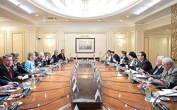 Встреча первого заместителя Председателя СФ Н.Федорова спредседателем Комитета повопросам внешней политики иобороны Стортинга Королевства Норвегия А.Хюитфельдт