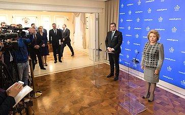 Брифинг Председателя СФ В.Матвиенко иПредседателя Национального совета Словакии А.Данко