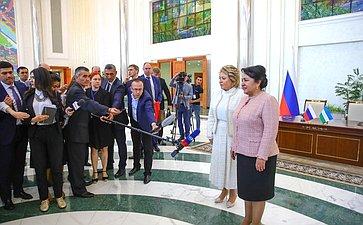 Брифинг В. Матвиенко поитогам встречи сПредседателем Сената Олий Мажлиса Узбекистана Т. Нарбаевой