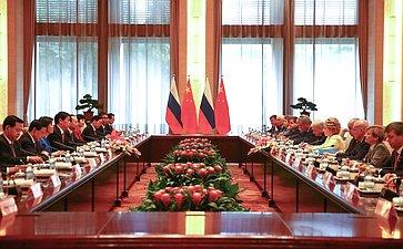 Встреча делегации Совета Федерации сПредседателем Постоянного комитета Всекитайского собрания народных представителей Китайской Народной РеспубликиЛи Чжаньшу