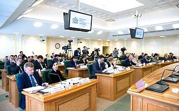 Встреча членов СФ сМинистром труда исоциальной защиты РФ М.Топилиным