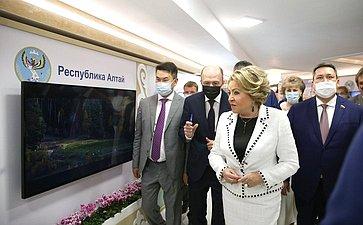 Валентина Матвиенко иглава Республики Алтай открыли вверхней палате парламента выставку, посвященную основным направлениям развития региона