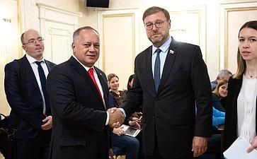 Встреча Константина Косачева сПредседателем Национального учредительного собрания Боливарианской Республики Венесуэла Диосдадо Кабельо Рондоном