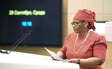 Председатель Нацсовета Парламента ЮАР Т. Модисе вСовете Федерации