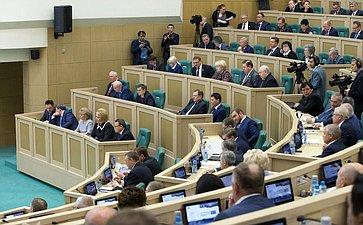 Сенаторы на419-м заседании Совета Федерации