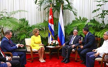 Встреча В. Матвиенко сПервым секретарем Центрального комитета Коммунистической партии Республики Куба Раулем Кастро Русом