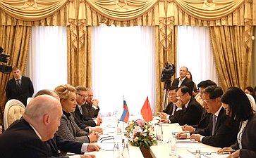 Встреча В. Матвиенко сзаместителем Председателя Постоянного комитета Всекитайского собрания народных представителей КНР