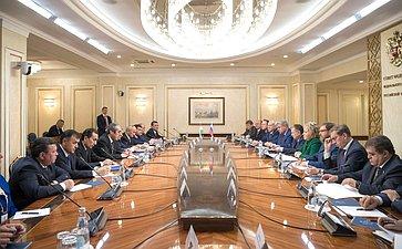 Встреча В. Матвиенко сПредседателем Маджлиси мили Маджлиси Оли Республики Таджикистан М.Убайдуллоевым