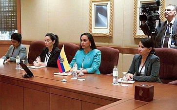 Встреча Председателя Совета Федерации сПредседателем Национальной Ассамблеи Республики Эквадор Габриэлой Риваденерой