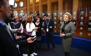 Пресс-подход Председателя Совета Федерации Валентины Матвиенко на137-й Ассамблее МПС, 2017