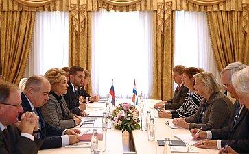Встреча В. Матвиенко сПредседателем первой палаты Генеральных Штатов Нидерландов А. Брукерс-Кнол