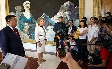 Брифинг В. Матвиенко поитогам рабочего визита вКиргизию