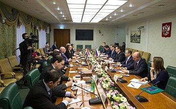 Встреча первого заместителя Председателя Совета Федерации Николая Федорова сМинистром иностранных дел Республики Парагвай Эладио Лоисагой