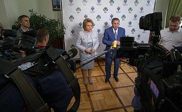 Брифинг Председателя Совета Федерации В.Матвиенко игубернатора Новосибирской области В.Городецкого