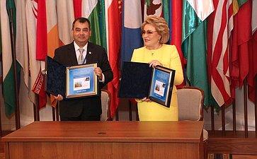 Церемония памятного гашения почтовой марки, посвященной 137-й Ассамблее Межпарламентского союза