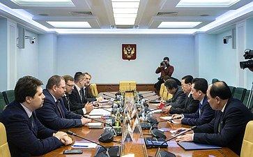 Встреча Константина Косачева сЧрезвычайным иПолномочным Послом КНДР вРФ Ким Хен Чжуном
