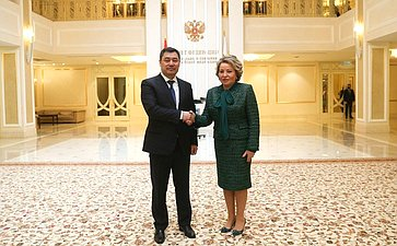 Встреча Председателя Совета Федерации Валентины Матвиенко сПрезидентом Киргизской Республики Садыром Жапаровым