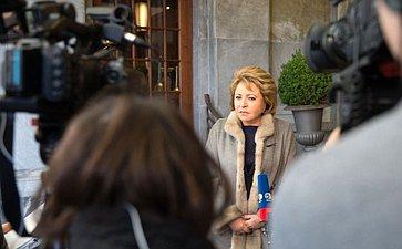 Брифинг В.Матвиенко представителям СМИ вШвейцарии