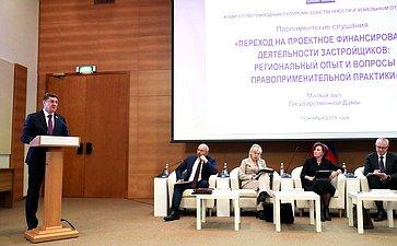 Парламентские слушания потеме «Переход напроектное финансирование деятельности застройщиков: региональный опыт ивопросы правоприменительной практики»