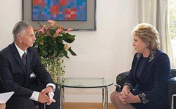 Встреча В. Матвиенко сМинистром иностранных дел Швейцарской Конфедерации Дидье Буркхальтером