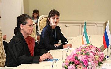 Встреча Председателя СФ В.Матвиенко слидером Объединенного прогрессивного альянса Соней Ганди
