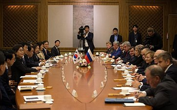 Встреча Председателя Совета Федерации В. Матвиенко сПредседателем Национального собрания Республики Корея Мун Хи Саном