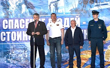 Ю. Воробьев принял участие вторжественной церемонии спуска наводу нового экспедиционного судна вцентре «Корабелы Прионежья»
