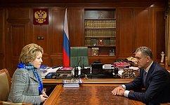 В. Матвиенко обсудила сПрезидентом Удмуртии социально-экономическое развитие региона