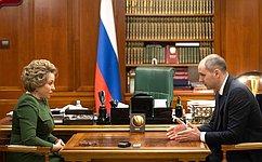 Председатель Совета Федерации В.Матвиенко провела рабочую встречу сгубернатором Оренбургской области Д.Паслером
