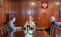 В. Матвиенко иО.Белозеров обсудили перспективы развития Российских железных дорог