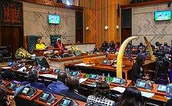Valentina Matviyenko gave aspeech atasession oftheNational Assembly oftheRepublic ofZambia
