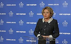 В. Матвиенко: Совет Федерации обеспечит реализацию мер для улучшения жизни населения вНорильске