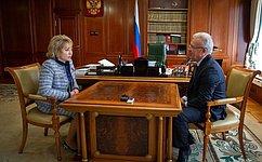 Председатель Совета Федерации В.Матвиенко провела встречу сгубернатором Красноярского края А.Уссом