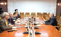 А.Климов встретился сделегацией Шотландской группы дружбы сРоссией воглаве сД.Силларсом