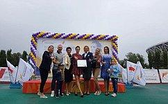 Т. Лебедева выступила нацеремонии награждения победителей Всероссийских соревнований полегкой атлетике вВолгограде