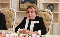 В. Матвиенко: Мы заинтересованы вдальнейшем развитии иукреплении российско-южноафриканского межпарламентского сотрудничества
