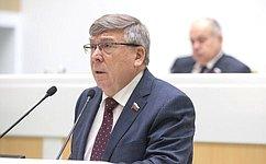В. Рязанский представил отчет оработе Комитета СФ посоциальной политике в2018году