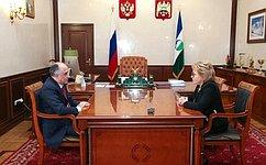 Председатель СФ В. Матвиенко провела встречу сглавой Кабардино-Балкарии Ю.Коковым