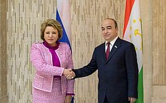 В.Матвиенко иглава нижней палаты Парламента Таджикистана обсудили развитие сотрудничества