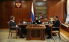 Председатель СФ В.Матвиенко провела встречу сизбранным губернатором Архангельской области А.Цыбульским