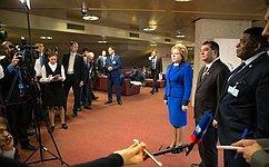 В.Матвиенко иС.Чоудхури приветствовали решение опроведении Ассамблеи МПС вСанкт-Петербурге в2017году