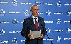 А. Климов: Внесен ряд законопроектов, подготовленных входе работы Временной комиссии СФ позащите государственного суверенитета
