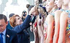 Н.Болтенко приняла участие воткрытии соревнований похудожественной гимнастике
