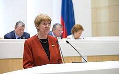Н.Дементьева представила сенаторам информацию освоей деятельности вкачестве представителя СФ вМПА СНГ