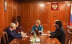 Председатель СФ провела встречу сгубернатором Челябинской области ипредседателем Законодательного Собрания