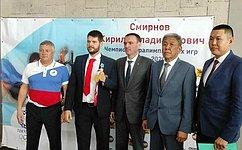 С. Михайлов поздравил паралимпийского чемпиона Кирилла Смирнова сего победой